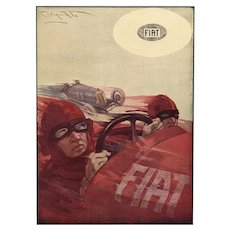 Father's Day Perfect! Original Art Deco race print for FIAT
