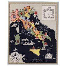 Original Vintage pictorial map of Italy