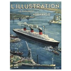 Original 1935 Print of the Normandie