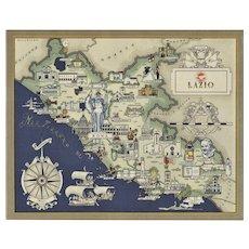 Mid-century vintage map of Lazio/Rome, Italy