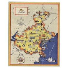 Mid-century vintage map of Veneto/Venice, Italy