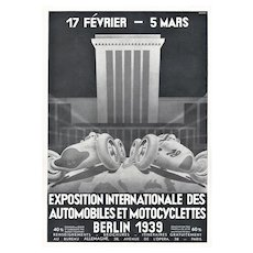 Matted Vintage Automobile Racing Print-Berlin 1939