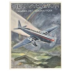 RARE 1934 Matted Vintage Airplane Print by Geo HAM