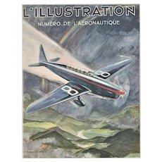 RARE 1934 Matted Vintage Airplane Print by Geo HAM