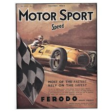 Matted Mid-Century 1951 Racing Car Print