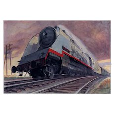 Matted VIntage Art Deco 1934 Train Print by Geo Ham