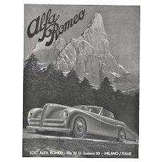 Matted 1947 Automobile Print Alfa Romeo Convertible