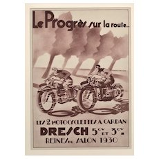 RARE Matted 1930 French Art Deco Motorcycle Advertisement Print