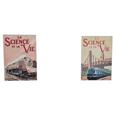 Set of 2 Matted 1930s Train Prints