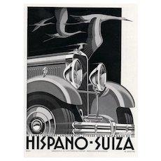 Matted 1932 Art Deco Automobile Print-Hispano-Suiza
