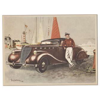 Vintage Art Deco French car Print