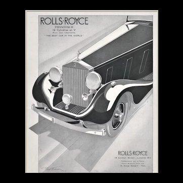 Matted 1935 French Art Deco Rolls-Royce Advertisement Print-Geo Ham