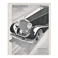 Matted 1935 French Art Deco Rolls-Royce Advertisement Print-Geo Ham