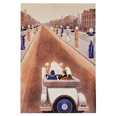 1920s Art Deco Sports Car Obsession Print, matted