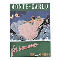 Matted Mid-Century 1949 French Monte Carlo travel print by Louis Icart