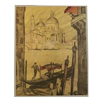 Matted 1927 Art Deco Travel Lithograph-Venice
