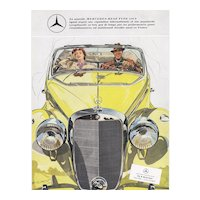 Original Vintage Mercedes-Benz convertible print
