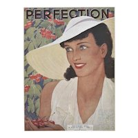 Matted 1938 French Fashion Print-Perfection Pretty