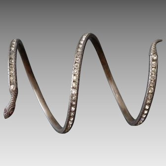 Sterling Silver & Paste Art Deco Snake Bracelet