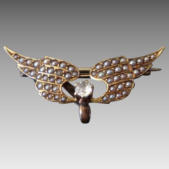 Tiny 14k Gold Krementz & Co. Wings Watch Pin w/ Pearls & Diamond