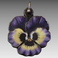Antique Art Nouveau Silver & Enamel Pansy Flower Slide Pendant