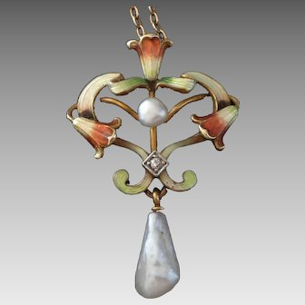 14k Gold & Enamel Art Nouveau Lavalier Necklace c.1900