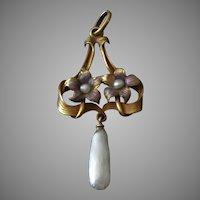 14k Gold Art Nouveau Pendant w/ Enamel Flowers & Freshwater Pearls