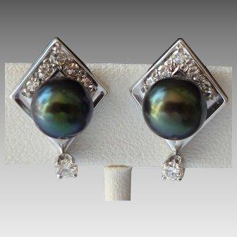 14k White Gold Tahitian Pearl Diamond Earrings