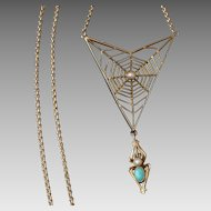 Exceptional c.1910 Murrle Bennett & Co 9ct Gold Spider & Web Necklace