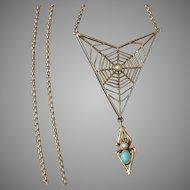 c.1910 Murrle Bennett 9-ct Gold Art Nouveau Spider Necklace