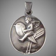 Bertold Löffler silver 'Putto on Bird' medallion for the Wiener Werkstätte, c. 1910