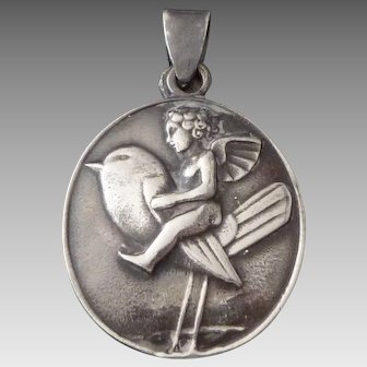 Bertold Löffler silver 'Putto on Bird' medallion for the Wiener Werkstätte, c. 1910