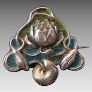 Meyle & Mayer Silver & Plique-a-Jour Enamel Jugendstil Brooch