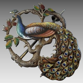 Superb Victorian Sterling & Enamel Peacock Brooch