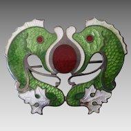 Antique Sterling & Enamel Art Nouveau Fish Brooch