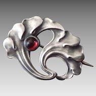 Antique Silver Jugendstil Ginkgo Leaf Pin