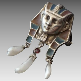 Sterling & Plique a Jour Pharaoh Brooch w/ Freshwater Pearl Drops