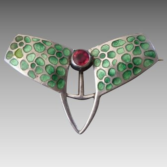 Tiny c.1908 L.F. Brenner & Co Sterling Enamel Jugendstil Arts & Crafts Brooch
