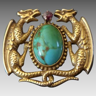 Antique 10k Gold & Turquoise Dragon Watch Pin