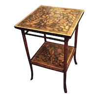 Bamboo Table Refurbished And Decoupaged With A Shell Design