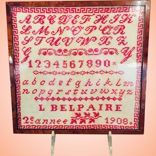 Title:  Alphabet Sampler With Red Thread On Canvas Dated 1908