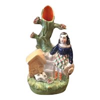 Staffordshire Figure Of A Girl With A Rabbit And Hut