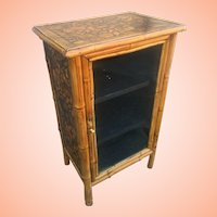 Bamboo Cabinet With Glass Front And Decoupaged Shells