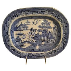 Blue Willow Platter Has A Vintage Plate Hanger Attached