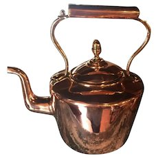Copper Kettle With Brass Accents From The Late 1800's