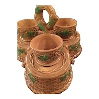 Majolica Egg Cups And Holder From England