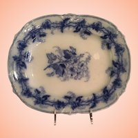 Flow Blue Platter With Floral Design In The Center