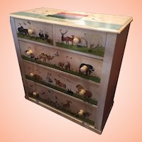 Antique Pine Chest Painted With Noah's Ark