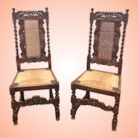 Barley Twist And Carved Chairs With Cane Backs