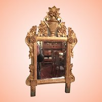 French Wedding Mirror Of Carved Wood From The Early 1800's